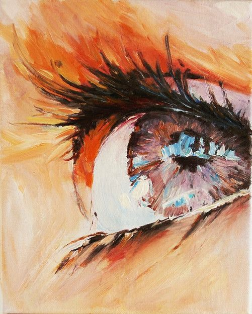 Modern Oil Painting on Canvas Human Eye Contemporary Wall Decor Art - to hang on the wall