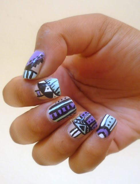 68 best Aztec nail art images on Pinterest | Tribal nails, Aztec ...
