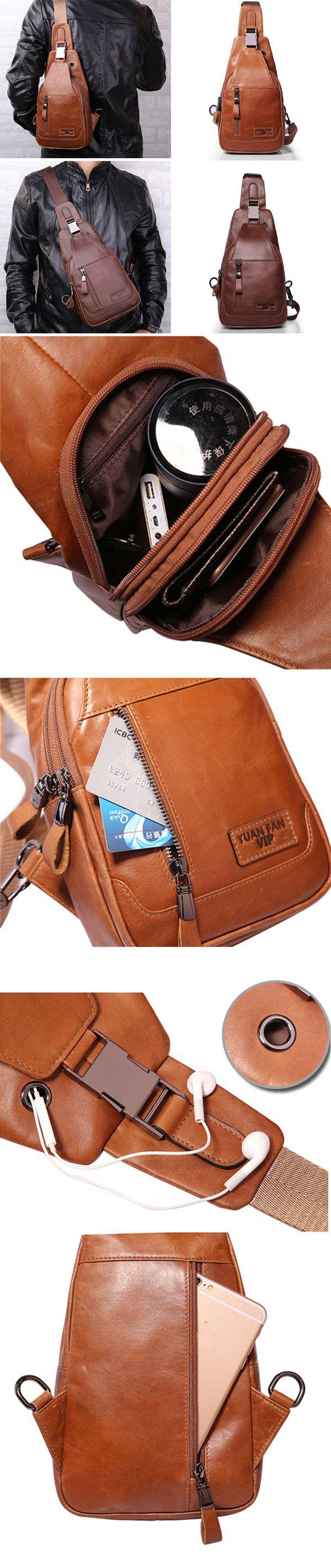 US$34.25 Ekphero Men Genuine Leather Shoulder Bag_ Vintage Chest Bags_ Leather Crossbody Bags For Men
