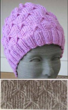 Схемы вязания шапок спицами. Сиреневая зимняя шапочка - Вязание - Мастерице - Сделаем сами - Пан Ас. Сделай сам. Сделать самой. Детские поделки