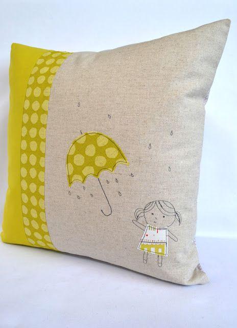 dewberry workshop: Umbrella girl cushion. Free machine embroidery