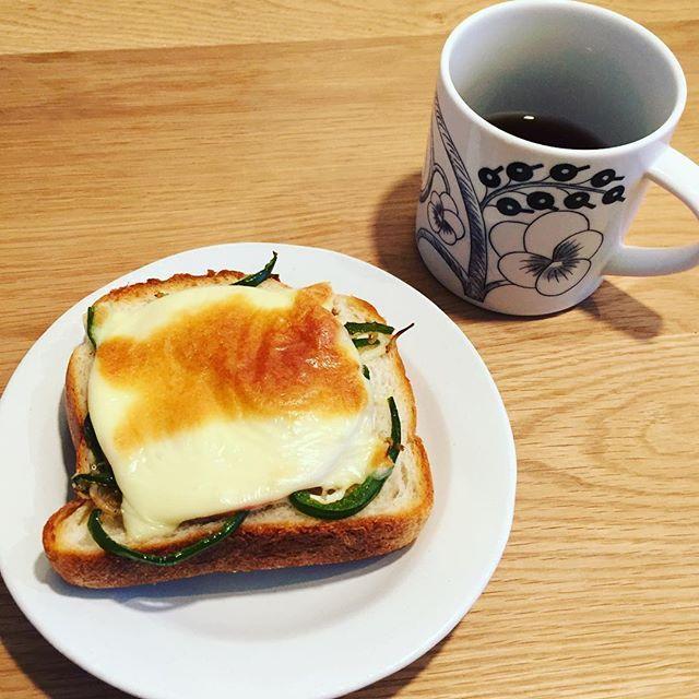 2017/01/24 08:20:27 chicopple おはようございます。#朝ごパン#朝食#おうちごぱん #brakefast #morning#トースト#パン#toast#じゃこピーマン#ハムチーズトースト #balmuda #バルミューダ#チーズモード#和皿#arabia #アラビア#アラビアマグ#いただきます