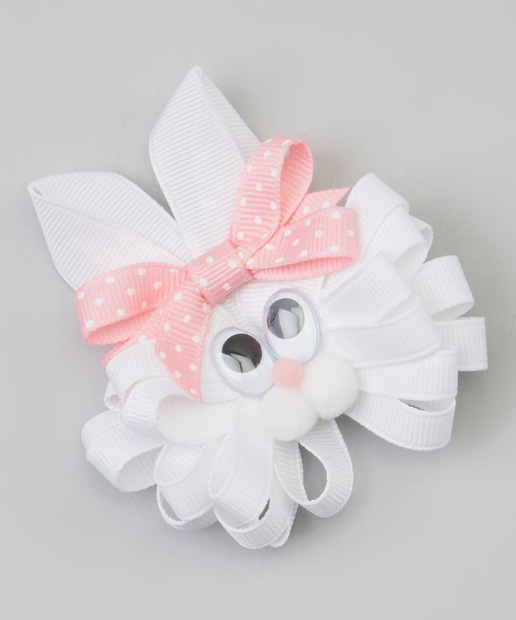 White & Light Pink Polka Dot Bunny Clip | Daily deals for moms, babies and kids