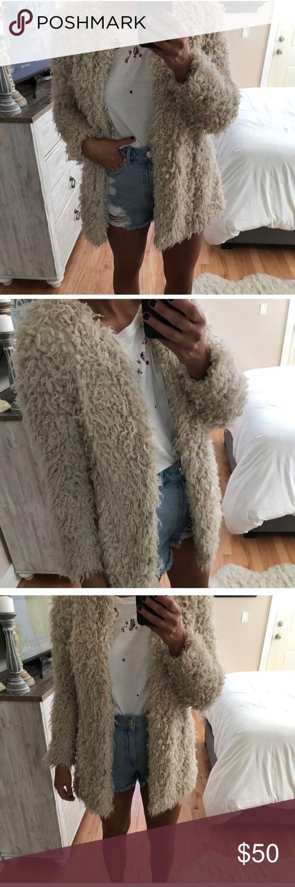 Zara faux sheepskin shag coat In perfect condition Zara Jackets & Coats