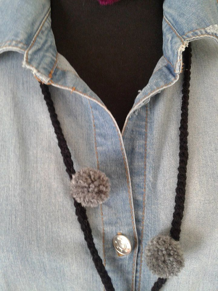 Handmade necklace, Wool necklace,Crochet,Pompom,Knitting style,Womans,Boho,