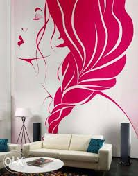 Living Room, Creative Wall Decor Ideas With Pink Murals Applying Beautiful  Girls Face Design Beautify Modern Living Room: Lovely Painted Wall With  Pink ...