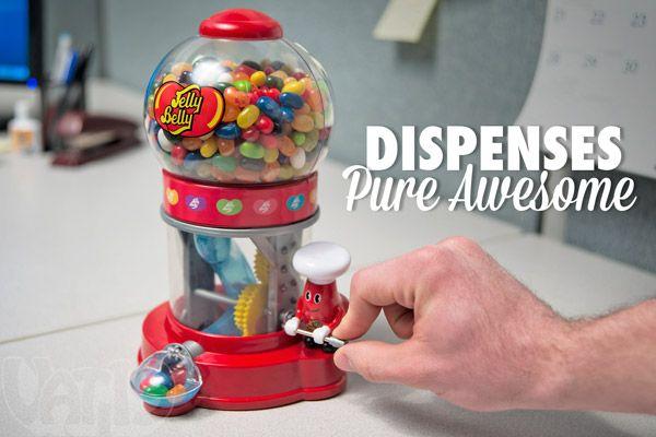 Jelly Belly Dispenser dispenses jelly beans.