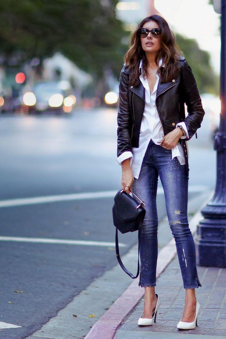 white shirt and black leather jacket