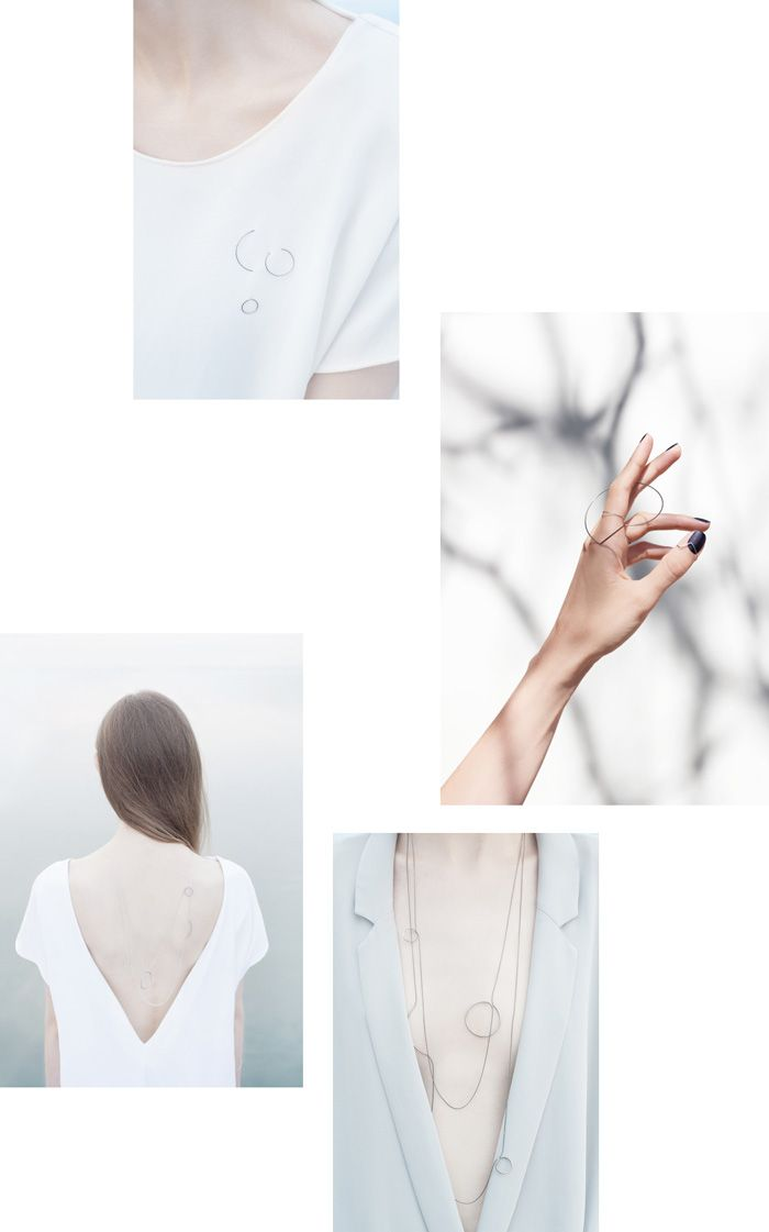 clean abstract composition of visuals, Agata Bielen jewelry