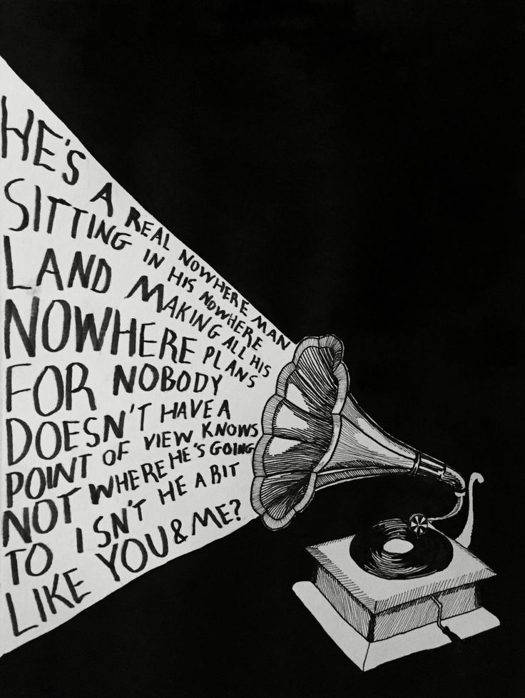 "—I. Gonzalez Gramophone illustration. Lights the room with lyrics. Beatles lyrics. ""Nowhere Man"""