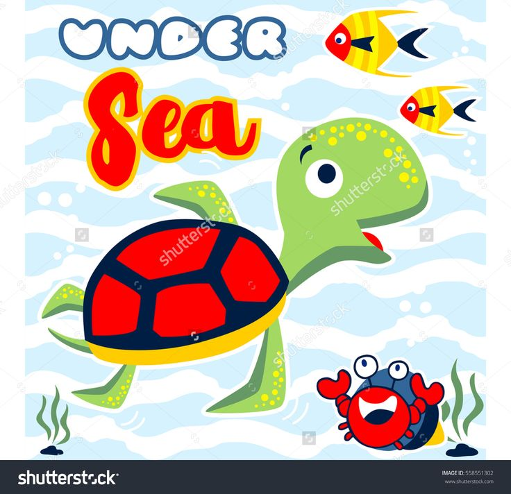turtle playing with his little friends under sea vector cartoon