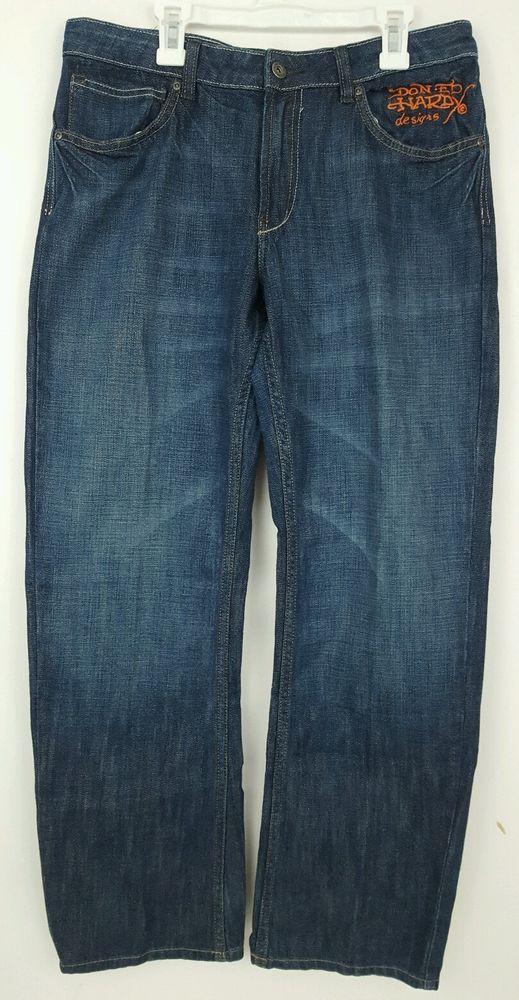 NEW Ed Hardy Men's Bulldog Tattoo Jeans 31 x 30 #EdHardy #Relaxed