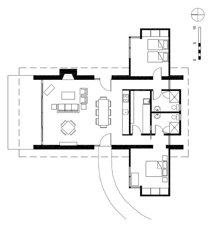 I like the arrangement of the bedrooms on either side of the living space.  Allows privacy, views and makes it easy to close off portions of the house without reducing public access to bath and utility areas. Lopez Island Cabin / Stuart Silk Architects