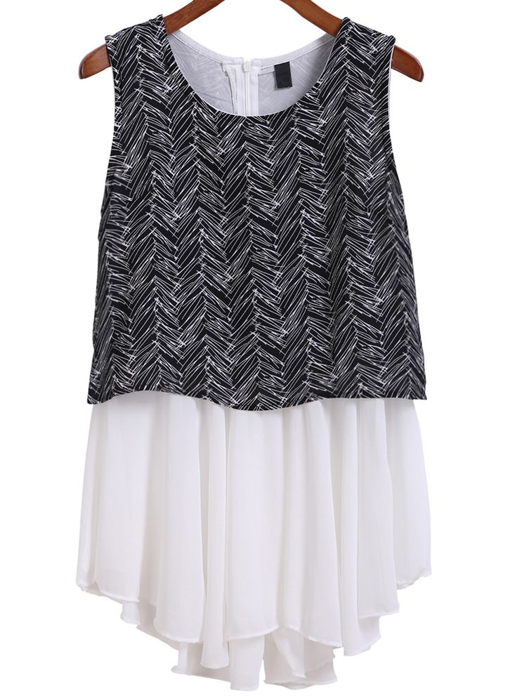 With Zipper Feather Print Black Top