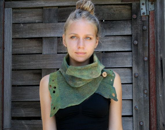 Nuno felted scarves - Felted Scarf - Felt Cowl - Organic texture- Natural Adventure- made to order