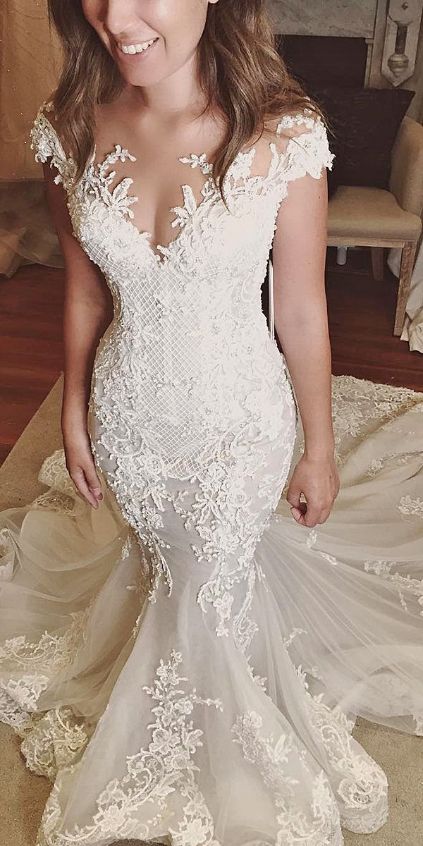 lace off the shoulder wedding dresses 3