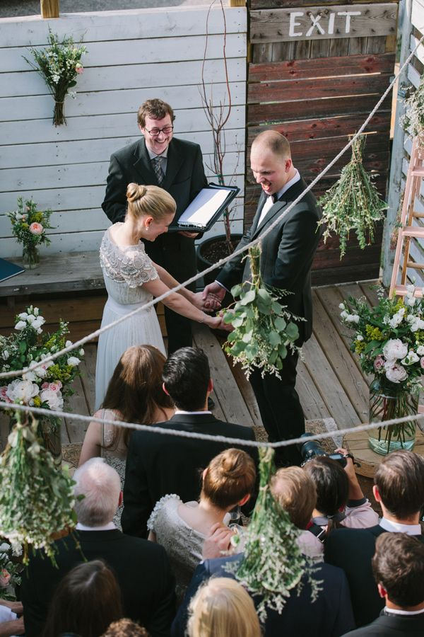 garden balcony ceremony // photo by Celine Kim // http://ruffledblog.com/elegant-toronto-wedding: