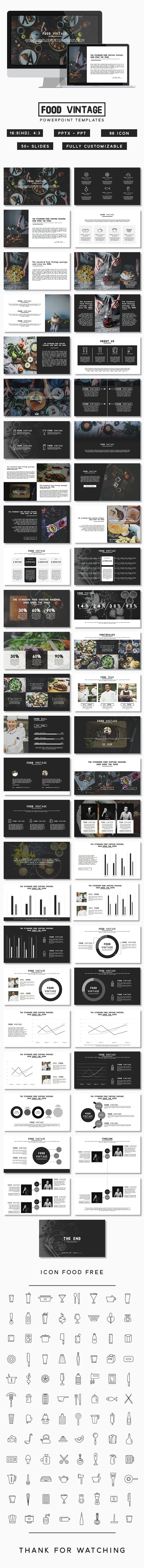 Food Vintage Presentation #corporate deck #customizable #data charts #distressed #domi #$12