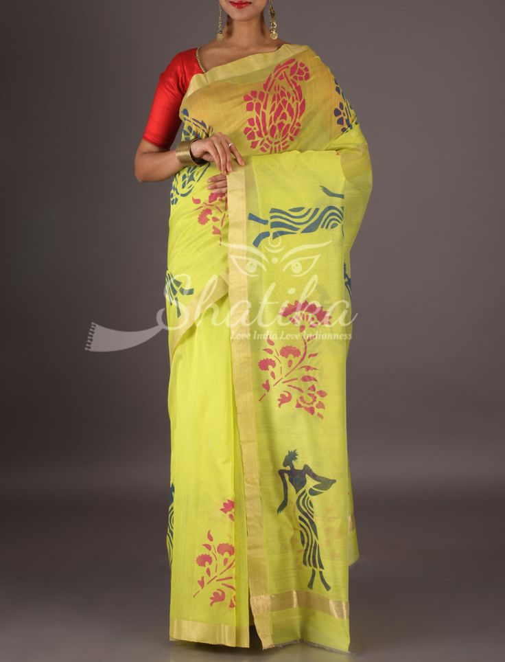 Navya Pale Yellow Lace Border Tribal Figurines Chanderi Block Printed Saree
