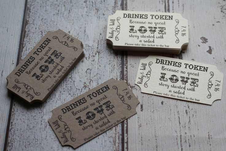 Personalised Wedding favour drink tokens-Because no great love story started ..