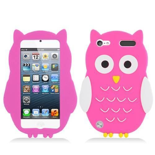 Hot Pink Owl Soft Silicone Rubber Case Cover for Apple iPod Touch 5 + Stylus Pen