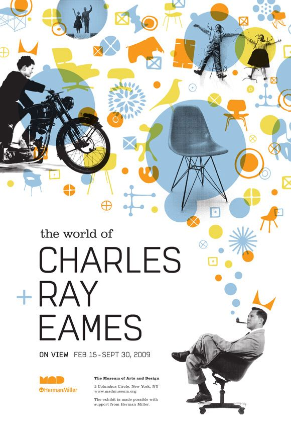 The world of Charles Ray Eames: Poster Design, Circles Shapes, Coloured Circles, Charles And Ray Eames, Design Exhibition, Charles Eames, Color Circles, Eames Design
