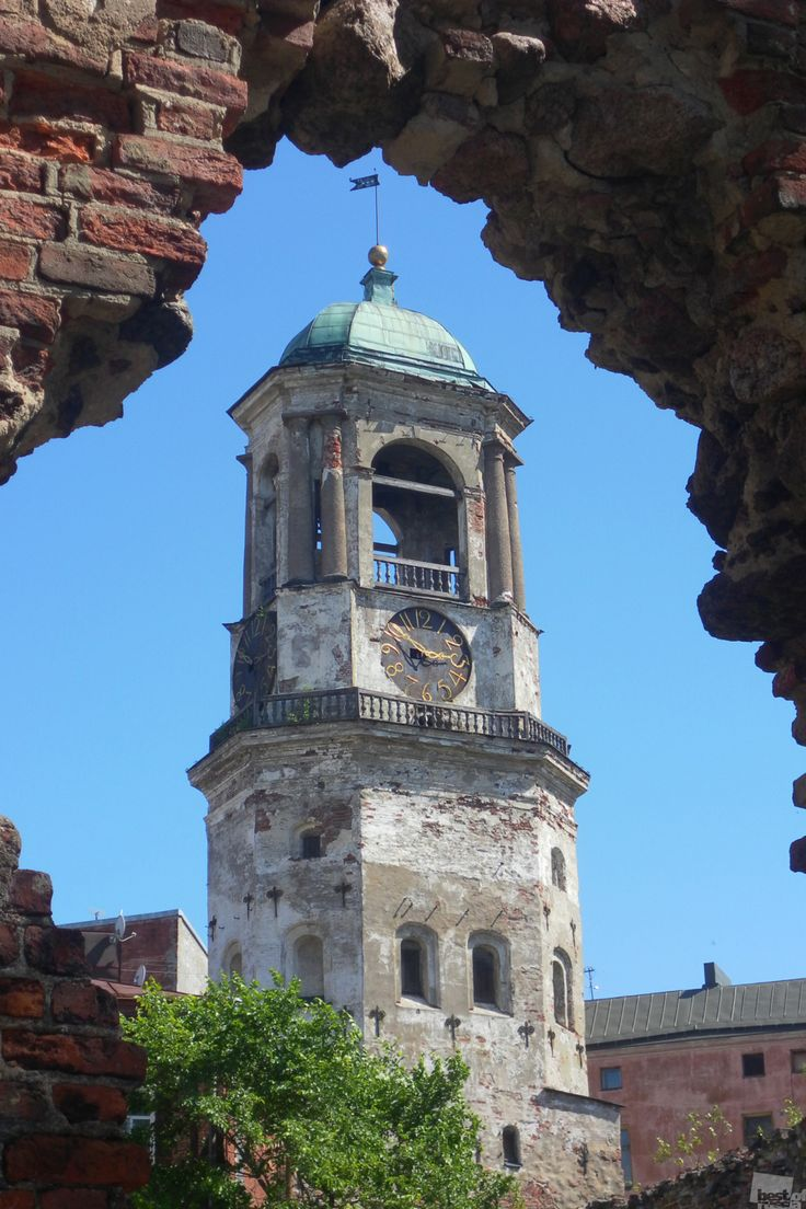 Clock Tower, Vyborg city, Russia.