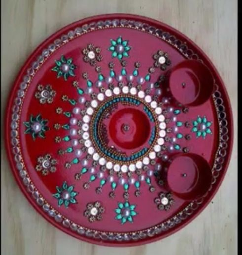 Aarti thali diwali crafts pinterest for Aarthi plates decoration