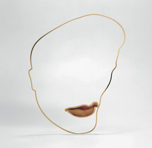 Gijs Bakker   Elvis Necklace   gold-plated brass, colour photo, PVC  1994