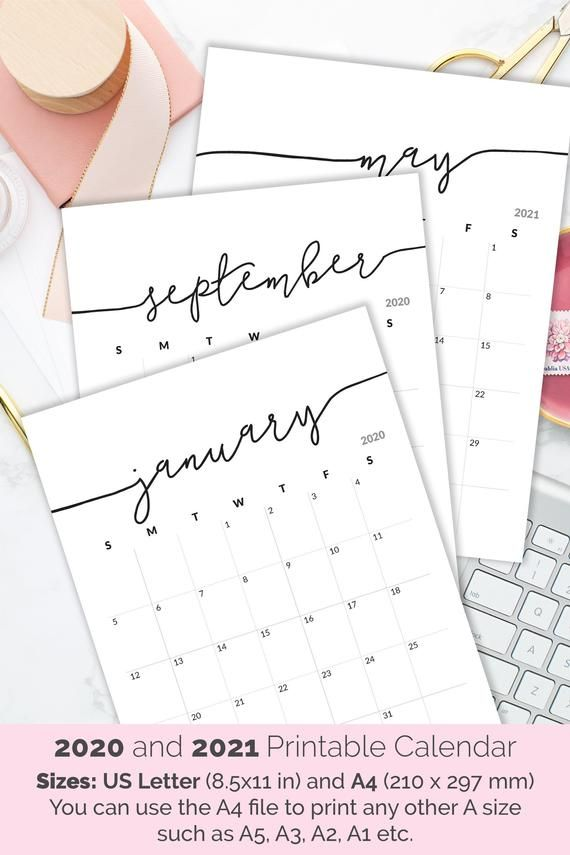 Printable Calendar 2020 2021 Calendar for Frame Planner | Etsy in