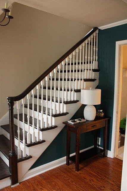 Like This Dark Wood Handrail And Dark Paint In Contrast To