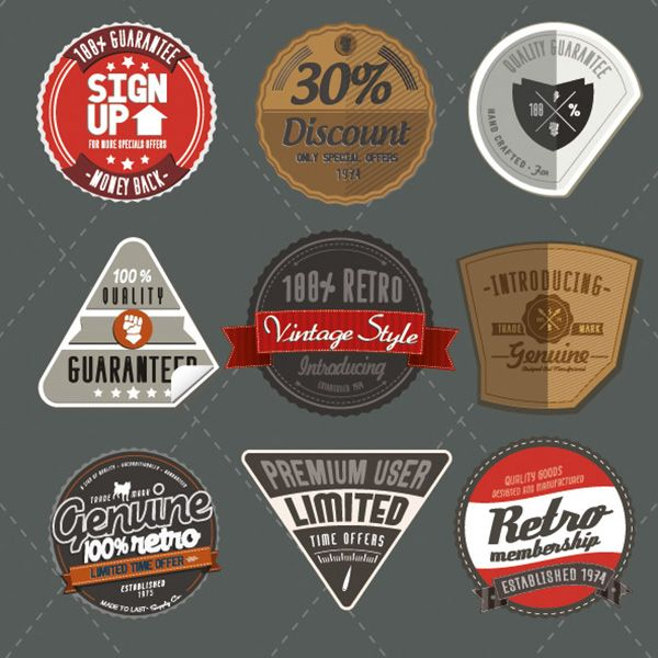 9 Retro Style Product Labels Vector Set - https://gooloc.com/9-retro-style-product-labels-vector-set/