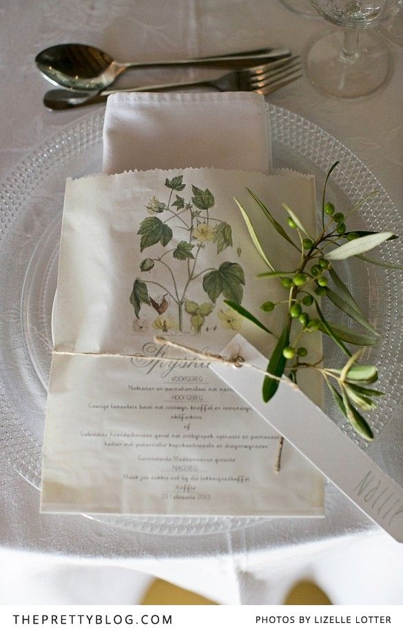 Nature inspired menus | Photography: Lizelle Lotter, Stationery: Elsje Burger