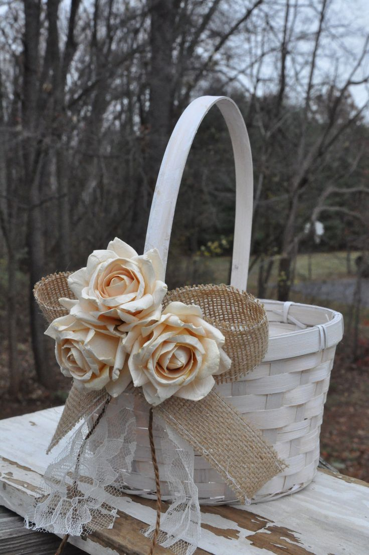 Flower Girl Baskets Burlap : Burlap and lace flower girl basket rustic