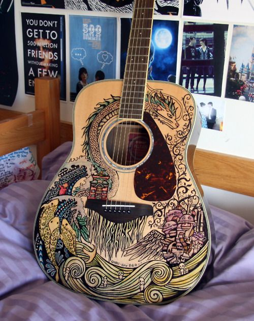 The Ghibli Guitar. Drawn with Sharpie permanent markers.
