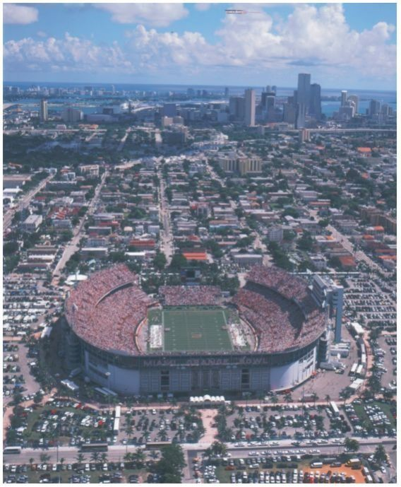 The Orange Bowl Stadium. Wow, the Stadium with a history of sports games and concerts. Was home of the Dolphins and The Miami Hurricanes.