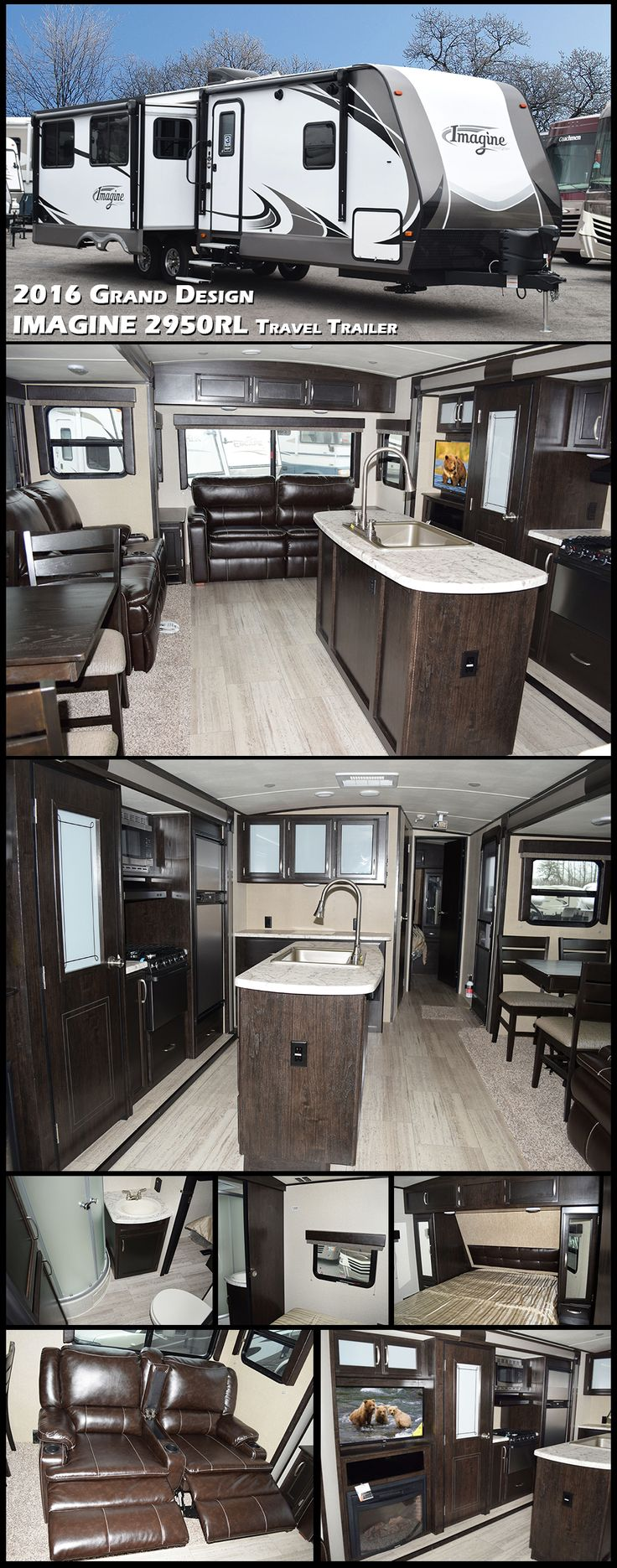 "Imagine yourself camping in this 2016 Grand Design IMAGINE 2950RL Travel Trailer. This rear living model offers sleeping for six, theater seating for two with center cup holders and a rear 72"" hide-a-bed sofa for your children or overnight guests. Adjacent is a second living area slide out that features an entertainment center with a 32"" LED TV which is easily viewable from any seating in this space."