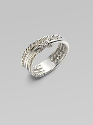David Yurman diamond & silver crossover ring - i wear mine almost every day, goes with anything