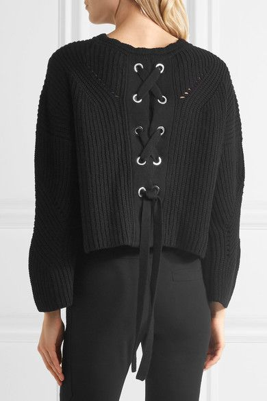 Isabel Marant - Grifin Lace-up Cotton-blend Sweater - Black - FR