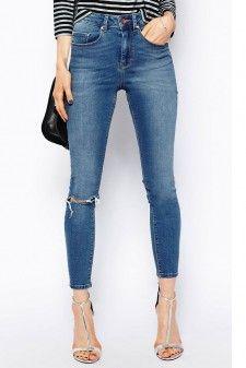 Skinny Jeans with Shredded Knee 01454