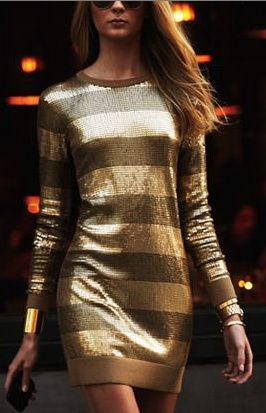 The perfect gold holiday party dress.