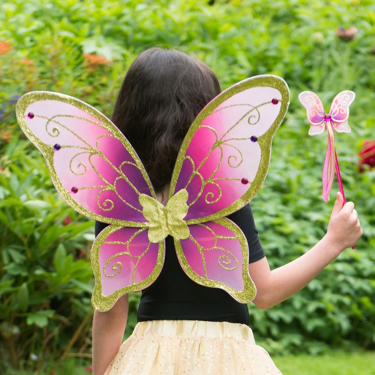 Cerise & Gold Wings and Wand Set ~  Every budding little fairy will love these gorgeous cerise and gold fairy wings.  With gold glitter detailing and decorated with jewels these beautiful wings are sure to impress even a Fairy Queen!  The wing span is 54cm by 45cm high and include elasticated shoulder straps for easy wear.  A matching butterfly shaped wand with gold glitter detailing a sparkling red jewel and pretty satin ribbons completes the set.  Age 3+ £20.00