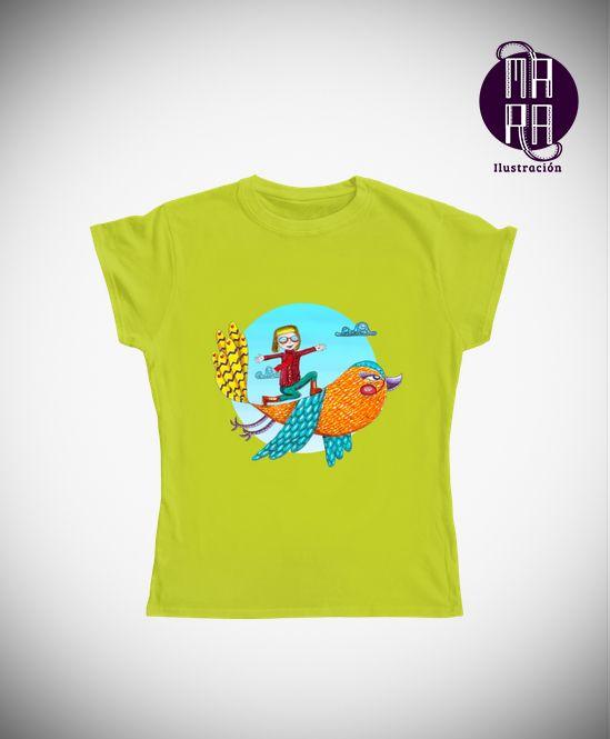 Camiseta Pajarito para mujer Colores disponibles: Blanco - Negro - Verde limón Tallas disponibles: M http://camaloon.es/descubre/artistas/mara-ilustracion/creaciones/bebe-arcoiris/camisetas-personalizadas/camisetas-personalizadas-mujer/productos