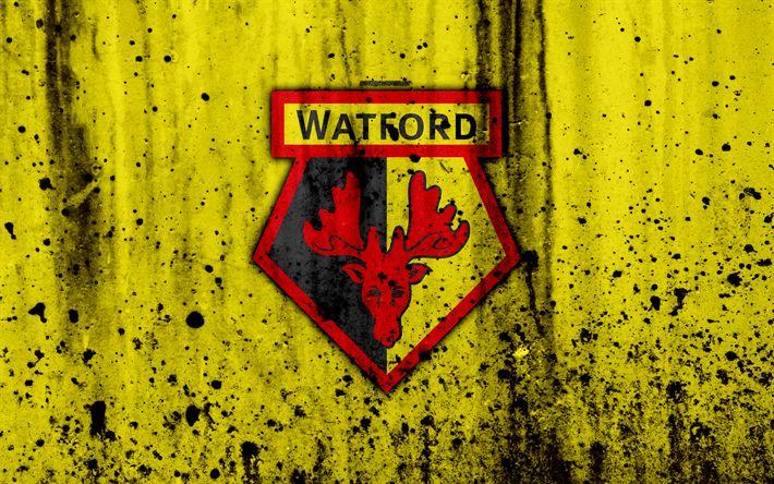 Download wallpapers FC Watford, 4k, Premier League, logo, England, soccer, football club, grunge, Watford, art, stone texture, Watford FC
