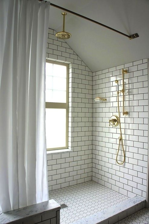 Griferia Para Baño Dorada:White Subway Tile Bathroom Shower