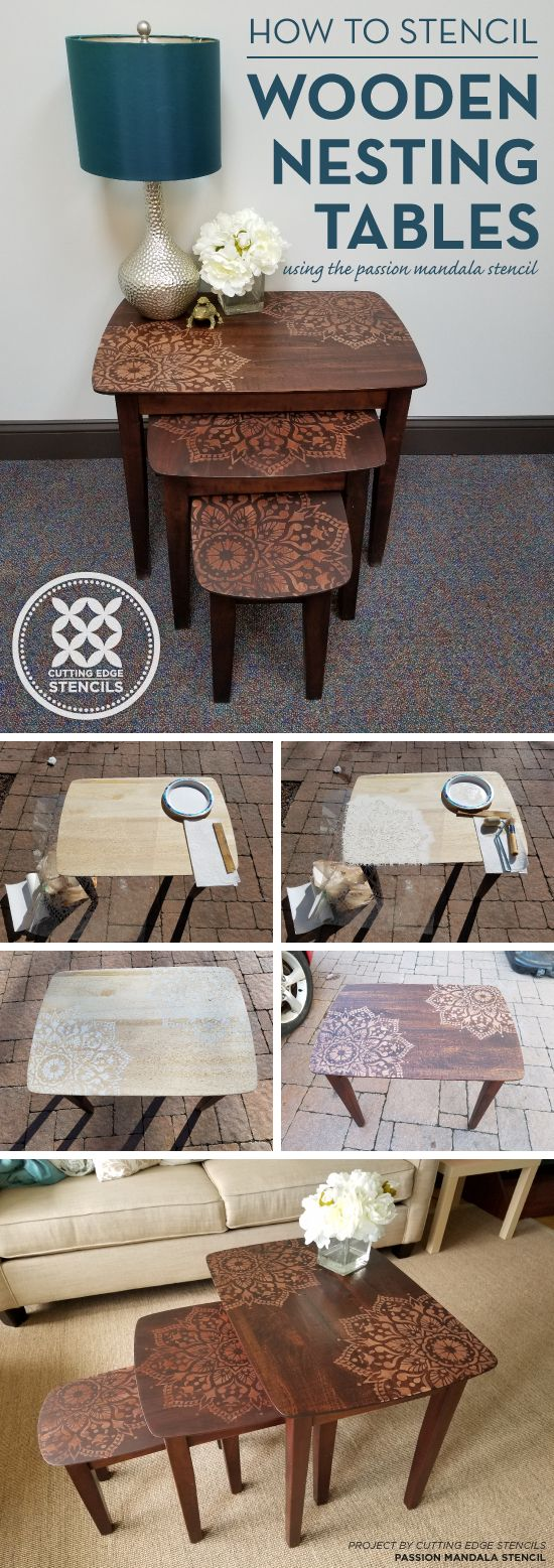 25 unique mandala stencils ideas on pinterest cutting edge cutting edge stencils shares how to paint and stain wooden nesting tables using the passion mandala stencil amipublicfo Images
