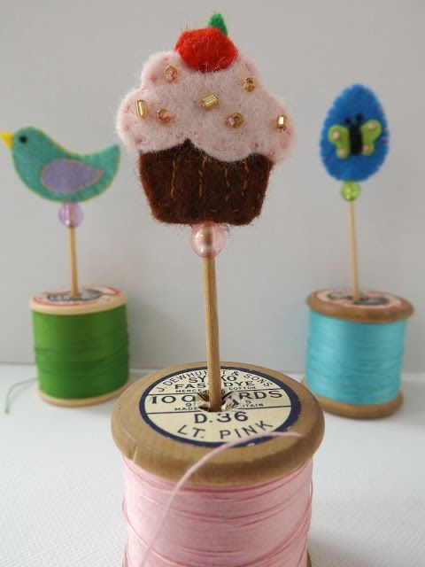 Hand stitched cupcake toppers.  Felt cut using Sizzix and Quickutz dies.