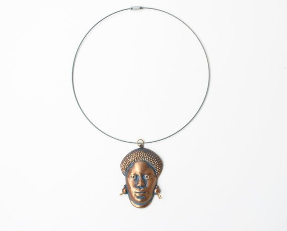 African necklace face pendant african pendant by SoulSisters16