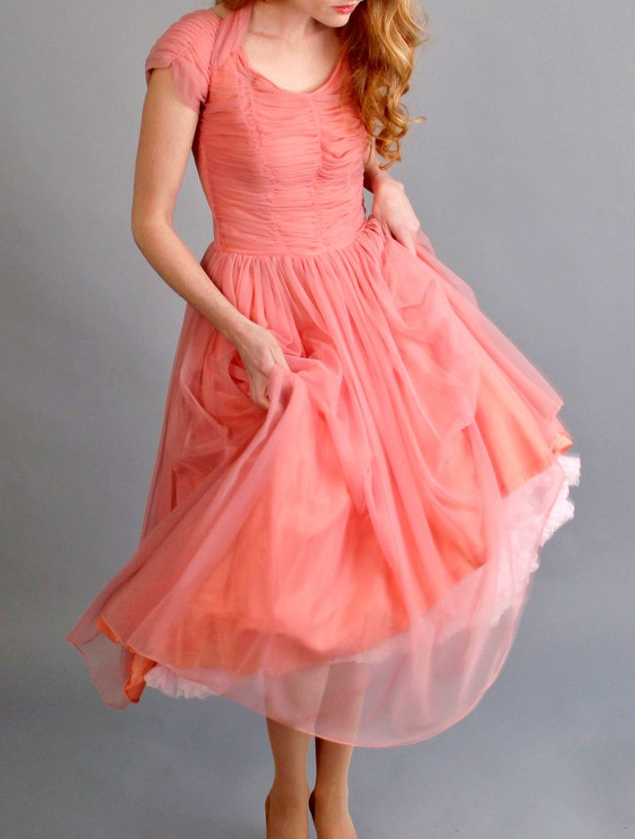 1940s 1950s coral pink prom dress // 40s 50s prom by coralvintage,