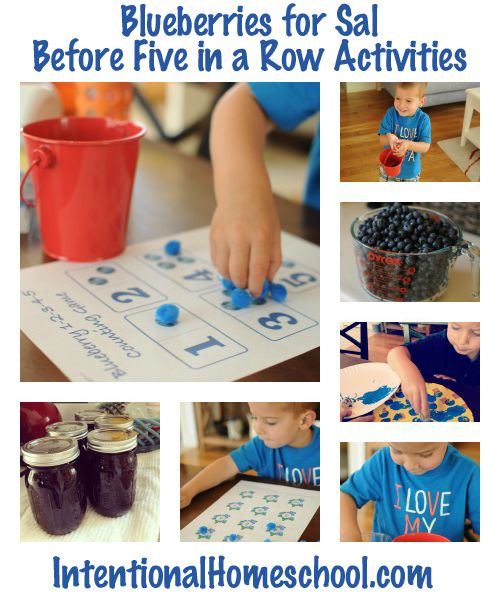 Before Five in a Row: Blueberries for Sal activities, including a blueberry hunt, blueberry counting and sorting, cooking with blueberries, blueberry art